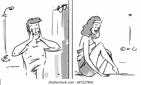 Man and woman happy after shaving in the bathroom sketch Vector illustration for cartoon, or storyboard project