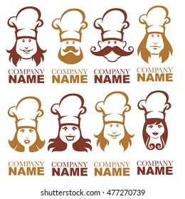 man and woman happy chef, vector portraits for your logo design