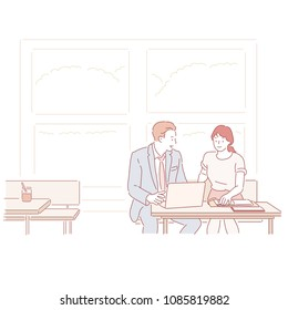 The man and woman have business meetings at the coffee shop. hand drawn style vector doodle design illustrations.