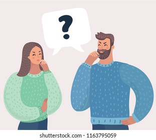 Man and woman have a question. Speech bubble. Husband and wife deal the problem using their imagination. Couple address the problem or solve the puzzle. Vector cartoon illustration in modern concept