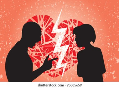 Man and woman having break up. Image showing broken heart on a grunge background.