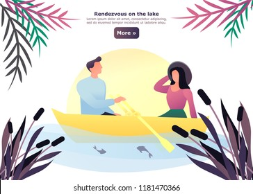 Man and woman having a date at lake. Simple cartoon couple sail ow swim on boat at river. Rendezvous and appointment, venue and romance between male and female. Relationship theme