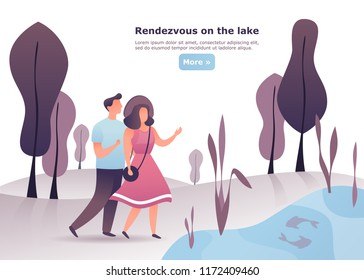 Man and woman having date in a wood. Couple having meeting or conversation at lake. Male and female having a walk or rendezvous, appointment together at forest. People and friendship, love theme