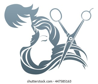 A man and woman having her hair cut by hairdresser scissors.