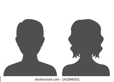 Man and woman head icon silhouette – stock vector