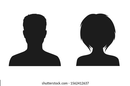 Man and woman head icon silhouette. Male and female avatar profile, face silhouette sign – for stock