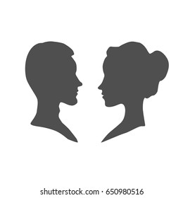 Man and Woman head silhouette, isolated on white, vector illustration