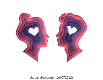Man and woman heads in 3d paper cut style with cutout heart shape for romantic relationship or love psychology concept. Young straight couple papercut illustration on isolated white background.
