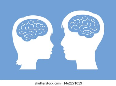 Man and woman heads with brain silhouette