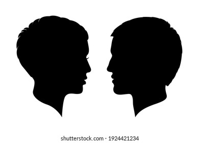 Man and woman heads silhouettes. Male and female profiles isolated on white background. Human heads symbols. Vector illustration