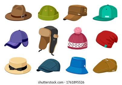 Man and woman headwear. Elegant modern and retro hats and caps, stylish fashion male and female accessories vector illustration icons set. Cap fashion for head, headdress and headwear for winter