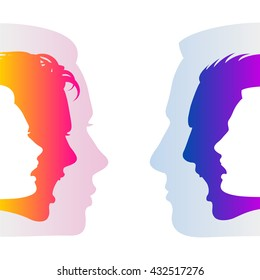 Man and woman hide true feelings by an indifferent neutral faces; Social relationships and communication between man and woman; Silhouettes of men and women faces with emotions; Vector Eps8