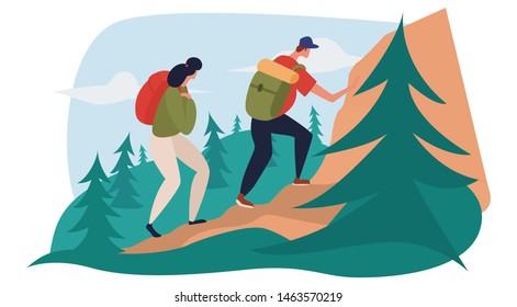 Man and woman are hiking in mountains, carrying heavy bag packs. Physical activities in mountains, climbing the rocks. Flat cartoon vector illustration.