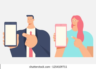 Man and woman holding mobile phone in hand. Vector flat cartoon person character isolated on a white background.