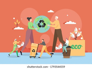 Man and woman holding planet globe with recycle symbol, tiny people sorting waste, using eco shopping bag, reusable cup, vector flat illustration. Zero waste green eco friendly lifestyle, ecology.