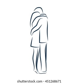 Man and woman hugging each other. Vector outline illustration