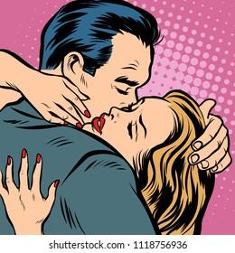 Man and woman hugs, love and romance. Comic cartoon pop art retro vector illustration drawing