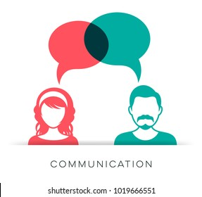 Man and woman icon with communication speech bubbles