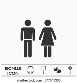 Man and woman icon flat. Black pictogram on white background. Vector illustration symbol and bonus button
