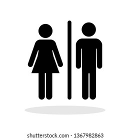 Man and Woman icon in flat style. Toilet symbol for your web site design, logo, app, UI Vector EPS 10.