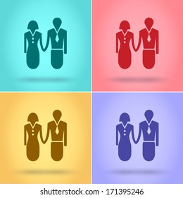 Man and woman icon, Flat style, vector