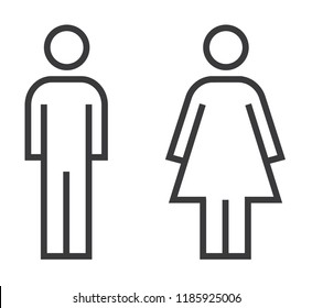 Man and Woman icon flat vector stock illustration isolated sign WC.