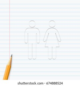 Man and Woman icon hand drawn with pencil on a paper sheet. Vector illustration, easy to edit.