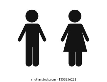 Man and woman icon isolated on white background. Vector illustration.