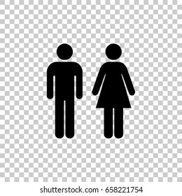Man and Woman icon isolated on transparent background. Black symbol for your design. Vector illustration, easy to edit.