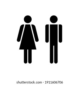 Man and woman icon. Male and female sign for restroom. Girl and boy WC pictogram for bathroom. Vector toilet symbol isolated
