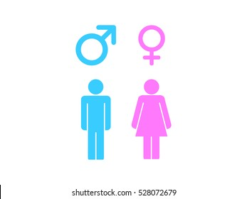 Man and woman icon and male and female symbol with color on white background