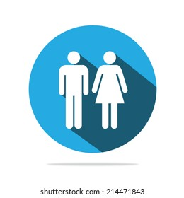 Man and woman icons with long shadow on a blue background. Vector illustration eps10.