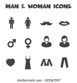 man and woman icons, mono vector symbols