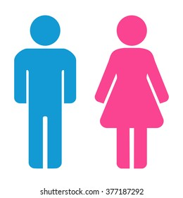 Man and woman icons. Restroom icon, toilet sign. Vector graphic.