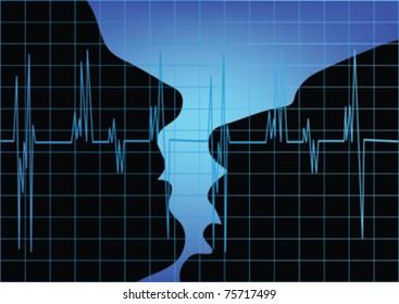man and woman kissing ,and cardiogram vector