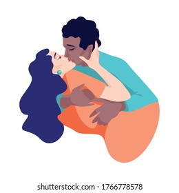 Man and Woman are kissing. World Kissing Day. Valentine's Day. Fall in love. Magical feelings, first love. The relationship between a man and a woman. Touching lips and hugs. Happy couple together.