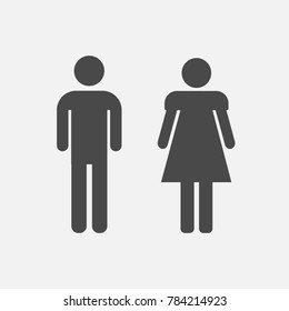 man and woman ladies and gentlemen male and female people vector icon gray