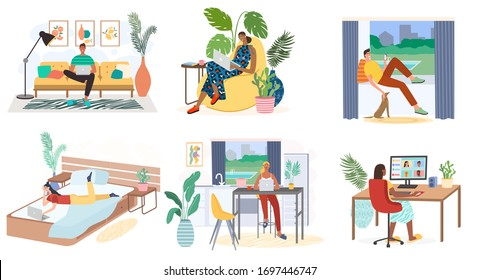 Man and woman with laptops, computers and smartphones are working from home. Freelance work and workplace vector concept. Kitchen, bedroom interior. Distance work, online study, online education.