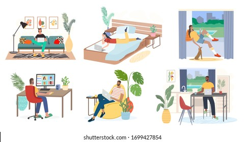 Man and woman with laptops, computers and smartphones are working from home. Freelance work and convenient workplace vector concept. Distance work, online study, education, remote work.