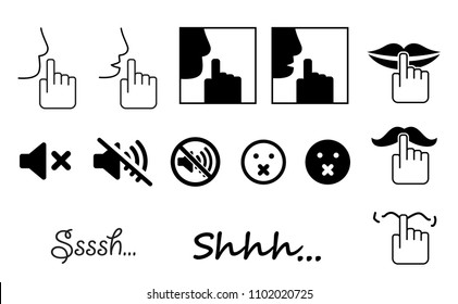 Man or woman lazy day. Mute. please be quiet silent or silence with hand, finger over lips for no talking Sign for psssst shhh sleeping or not sound doodle Funny silhouette hush vector icon or symbol.