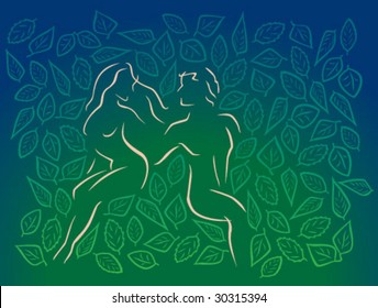 Man and woman in leafy Eden
