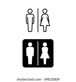 Man and woman line and solid icons