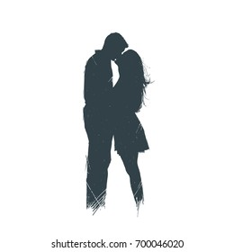 Man and a woman with long hair stand and kiss. Silhouette. A sketch. Handmade
