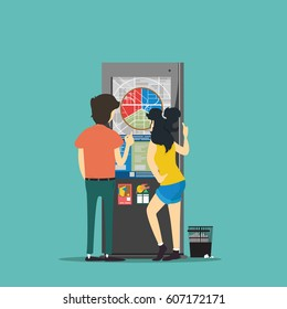 man and woman look at information terminal. Vector illustration.
