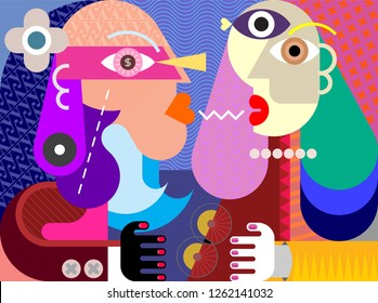 A man and a woman looking at each other vector illustration. Dialogue between two strange persons, modern style artwork.