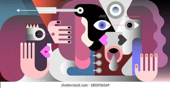 A man and a woman looking each other in the eyes and one person is watching them. Modern art vector illustration.