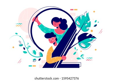 Man and woman looking out number two vector illustration. Leaves swirling around number two flat style design. Decoration element for birthday or wedding concept