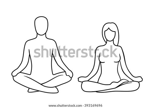 Man Woman Lotus Yoga Pose Vector Stock Vector Royalty Free 393169696