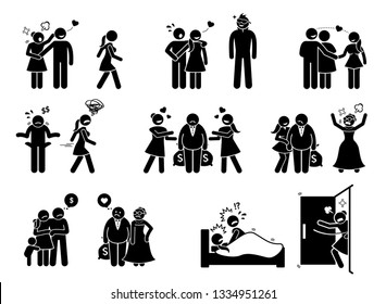 Man and woman love affair. Artworks depict boyfriend distracted by attractive woman while girlfriend being jealous. Wife leaves husband for rich old man. Woman caught man having sex with other girl.