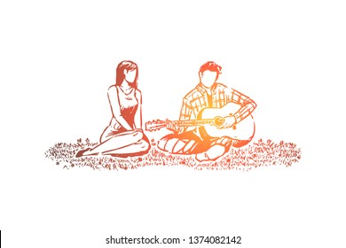 Man and woman in love, romantic date in park, man playing guitar, boyfriend holding musical instrument. Couple on picnic, valentine day celebration concept sketch. Hand drawn vector illustration